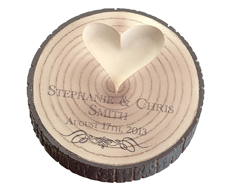 Personalized Wood Tree Trunk Wedding Ring Holder