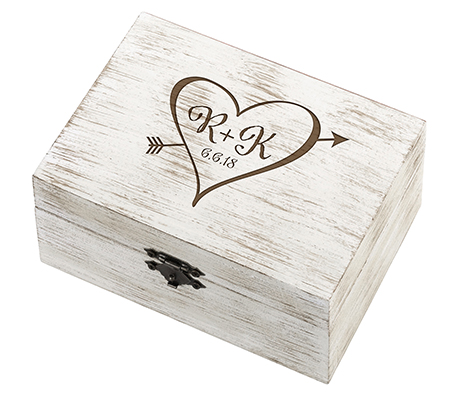 Personalized Rustic Wooden Wedding Ring Box