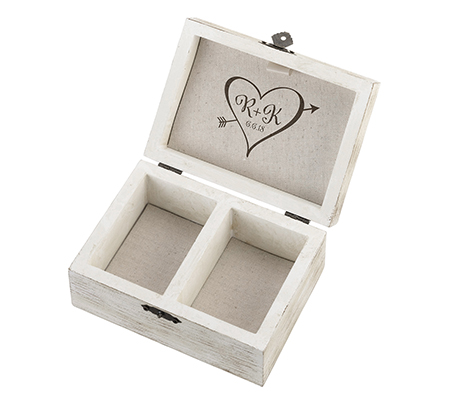 Personalized Initials Wood Wedding Rings Vows Box