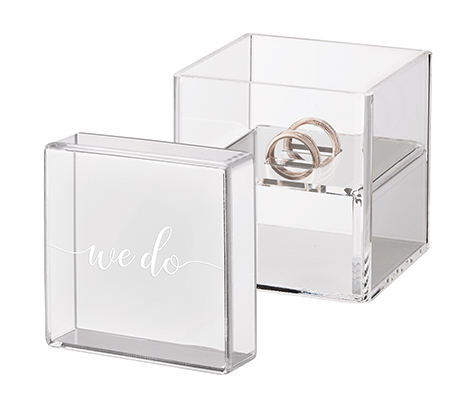 "Clear Acrylic Ring Box Ring Pillow Alternative with ""We Do"""
