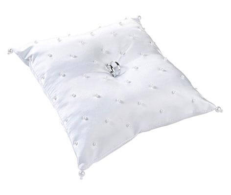 Classic White Satin Pearl Wedding Ring Pillow