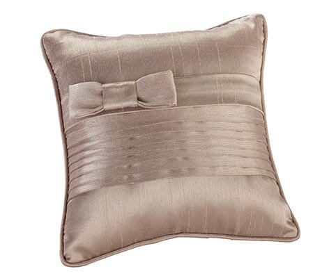 Simple Taupe Pleated Silk Wedding Ring Pillow