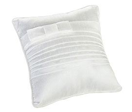 Simple White Pleated Silk Wedding Ring Pillow
