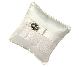 White Pleated Ring Pillow with Rhinestones