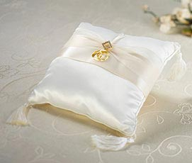 Classic Ivory Diamond Satin Wedding Ring Pillow
