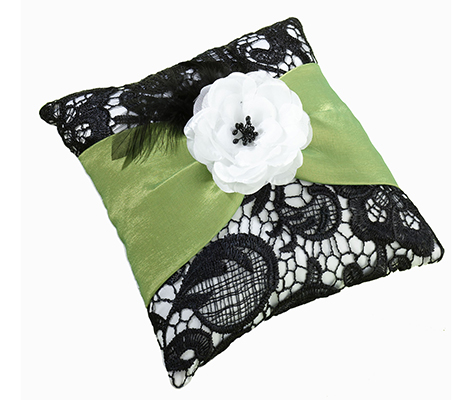 Green Black Lace Flower Wedding Ring Pillow