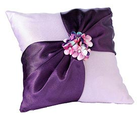 Purple Flower Wedding Ring Pillow