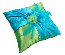Blue Green Fancy Wedding Ring Pillow