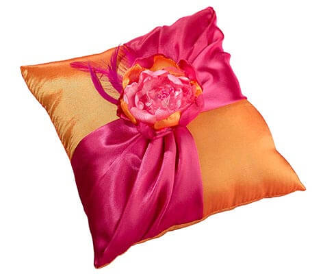 Hot Pink Orange Fancy Wedding Ring Pillow