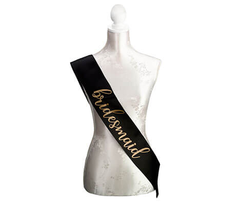 Black & Gold Satin Bridesmaid Sash