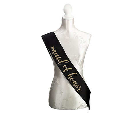Black & Gold Satin Maid of Honor Sash