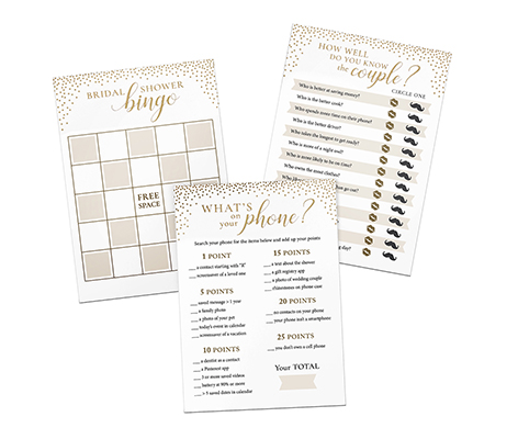 Gold Confetti Themed 3 Bridal Shower Games for 24 players