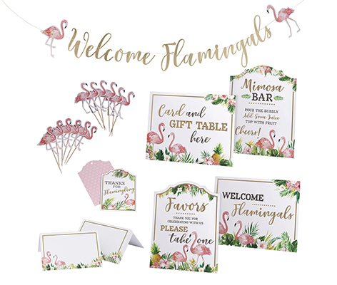Flamingo Theme Bridal Shower Decor Set