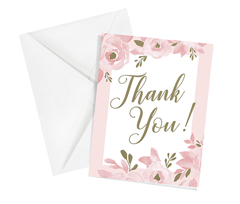 Set of 12 Bridal Shower Thank You Cards