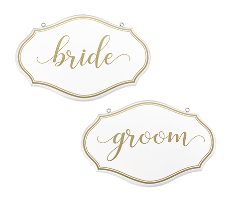 White and Gold Bride and Groom Chair Signs