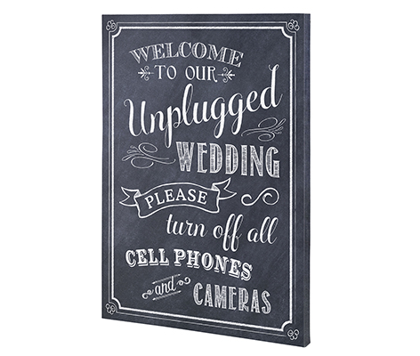 Unplugged No Phones Wedding Sign Canvas Decor