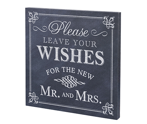 Leave Your Wishes Canvas Wedding Sign Decor
