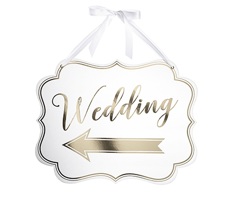 White & Gold Arrow Wedding Sign