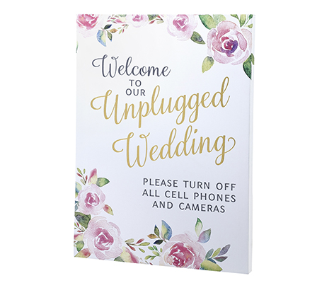 Watercolor Unplugged Wedding Sign