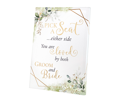 Botanical Theme Wedding Seating Canvas Sign