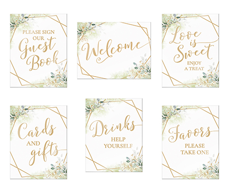 Geometric Botanical Theme Wedding Signs