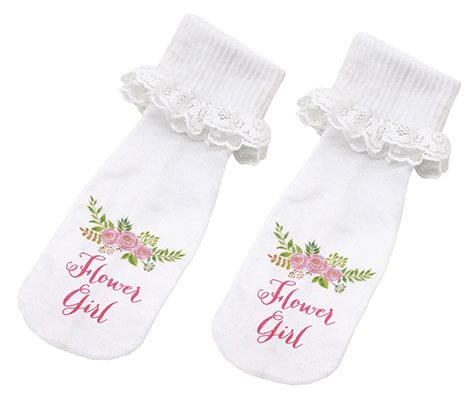 White Lace Flower Girl Gift Keepsake Socks