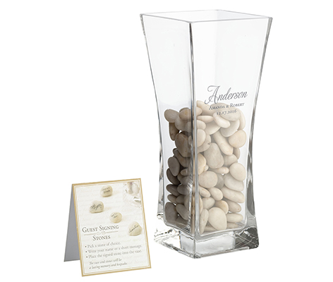 Personalized Guest Signing Stones Script Vase