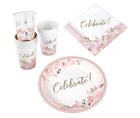 Pink and Gold Bridal Shower Celebration Set