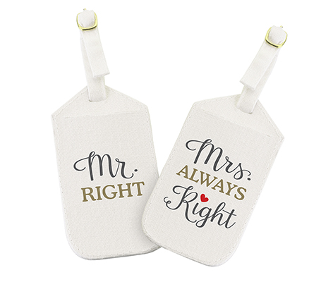 """Mr. Right & Mrs. Always Right"" Luggage Tags"