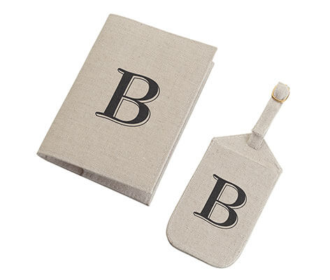 Tan Monogram Luggage Tag Matching Passport Cover