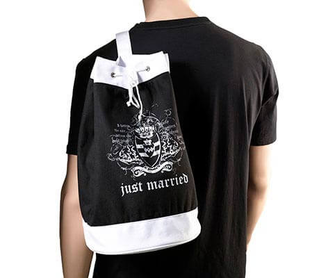 Just Married Wedding Gift Beach Tote Bag Black
