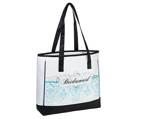 Aqua Blue Bridesmaid Tote Bag Wedding Party Gift