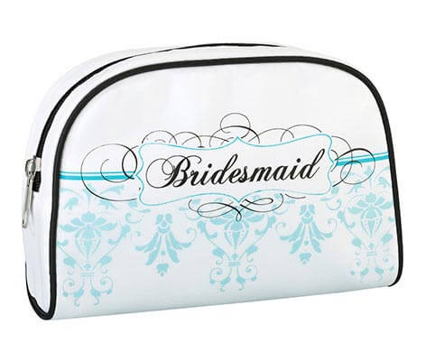 Aqua Blue Bridesmaid Travel Makeup Bag Gift