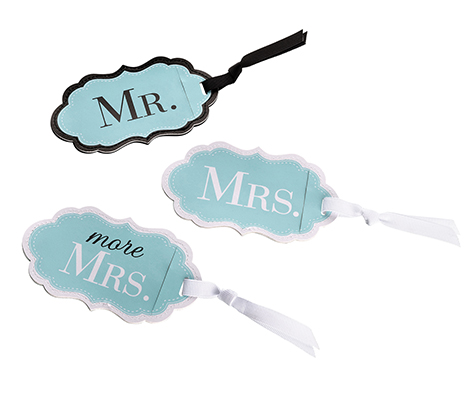 Mr. Mrs. More Aqua Blue Matching Luggage Tags