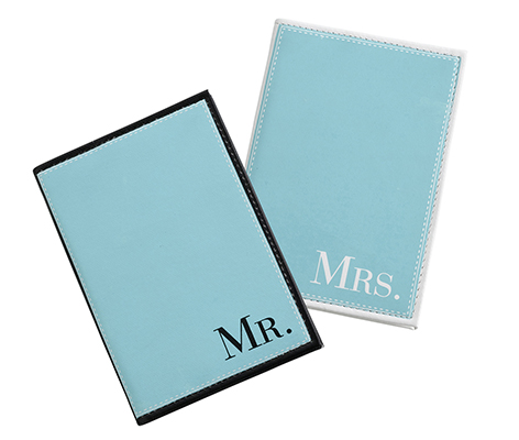 Mr. and Mrs. Aqua Blue Matching Passport Covers