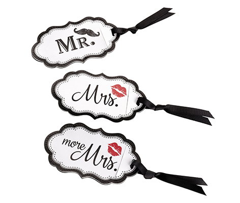 Mustache and Red Lips Matching Couple Luggage Tags