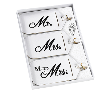 3 Mr. Mrs. More Matching Couple Luggage Tags