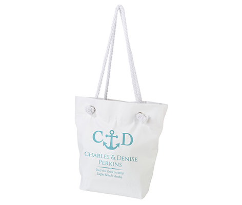 Personalized White Canvas Beach Tote Bag Anchor