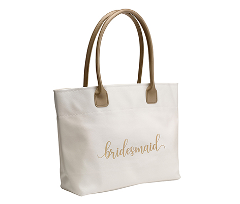 Gold Bridesmaid Wedding Tote Bag