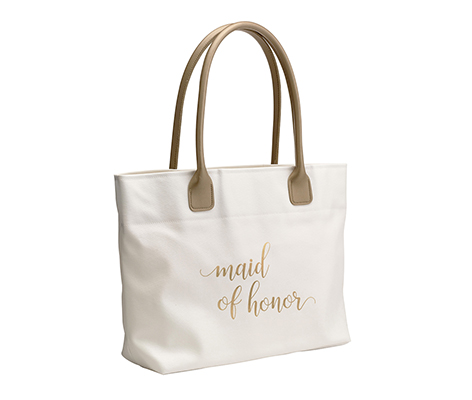 Gold Maid of Honor Wedding Tote Bag
