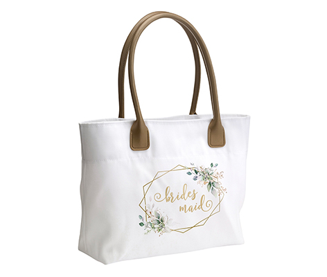 Botanical Watercolor and Gold Geometric Bridesmaid Wedding Tote Bag