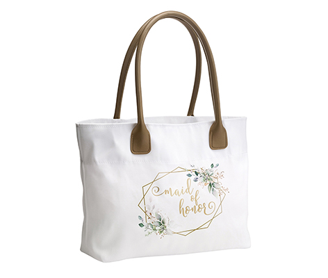 Botanical Watercolor and Gold Geometric Maid of Honor Wedding Tote Bag