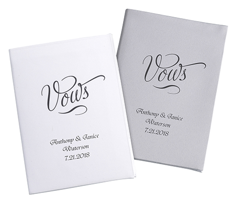 Set of 2 White/Silver Satin Vows Books - Personalized Style 1