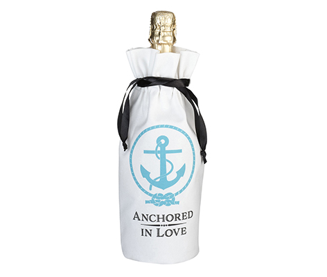 Coastal Beach Anchor Wine Bag Wedding Keepsake