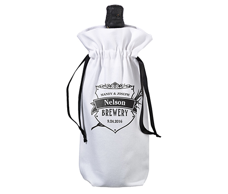 Personalized Rustic Brewery Wine Bag