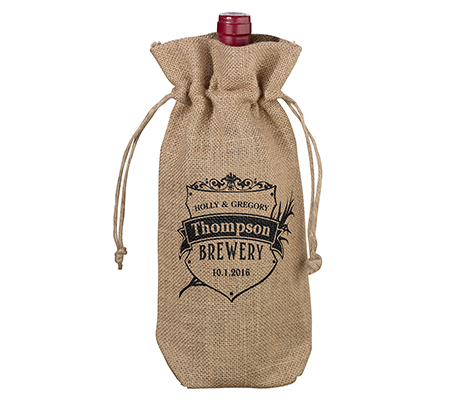 Personalized Crest Rustic Country Burlap Wine Bag