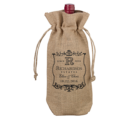 Personalized Rustic Vineyard Burlap Wine Bag