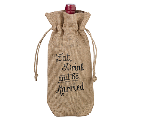 Be Married Rustic Country Burlap Wine Bag