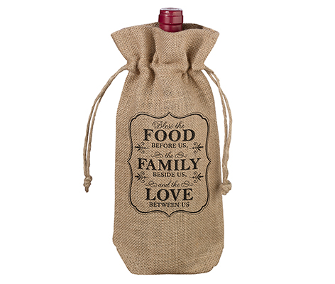 Food and Family Rustic Country Burlap Wine Bag