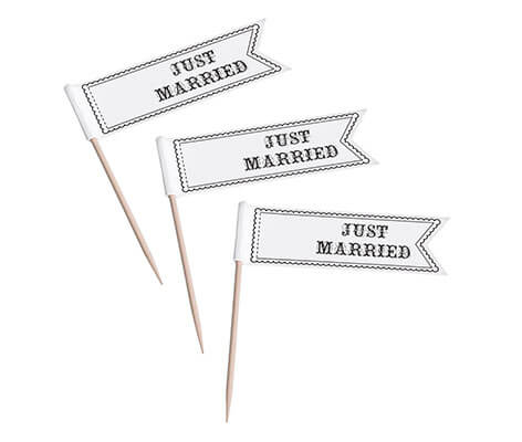 Vintage Black and White Just Married Cupcake Picks